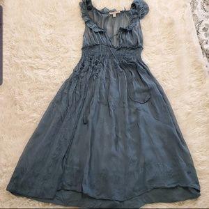Rebecca Taylor Silk Ruffle Empire Waist Dress